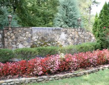 Stone wall with water feature